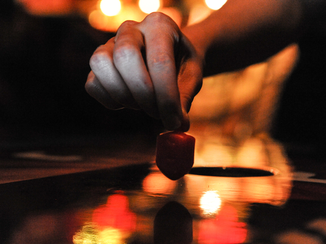 <p>A dreidel in play at the competition.</p>