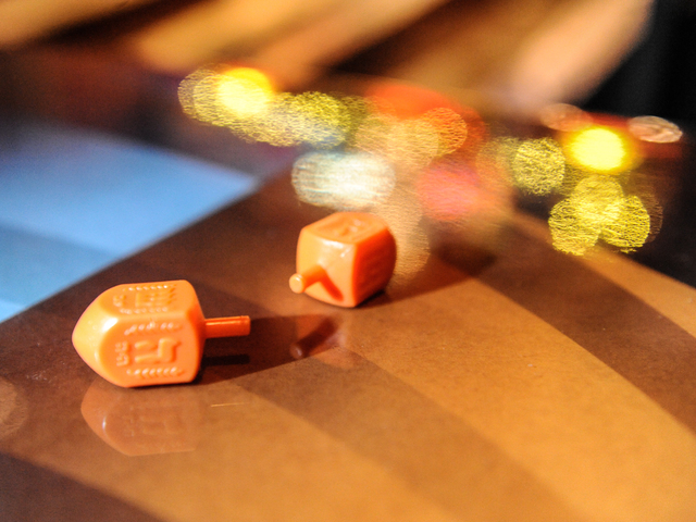 <p>The dreidels are ready to spin at the Major League Dreidel competition at Full Circle Bar in Williamsburg Thursday, Dec. 13, 2012.</p>