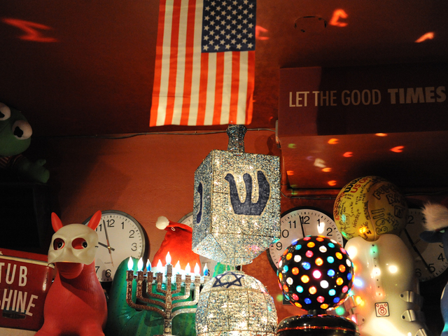 <p>Some of the Hanukkah-themed decorations at the major league dreidel competition.</p>