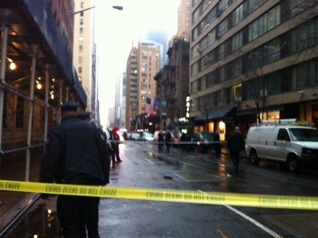 <p>Police blocked off West 58th Street after a man was shot between Seventh Avenue and Broadway Dec. 10, 2012.</p>