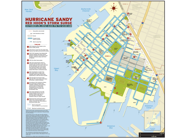 <p>Cartographer Jim McMahon braved Hurricane Sandy Oct. 29, 2012, to map the extent of flooding in Red Hook.</p>