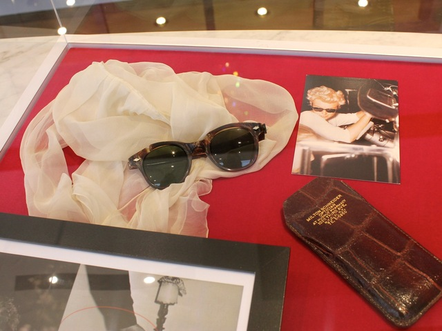 <p>Marilyn Monroe wore these sunglasses from 1956 through 1960, according to a placard at the SoHo exhibition of her artifacts.</p>