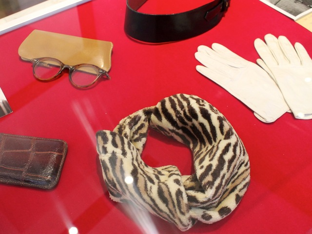 <p>Marilyn Monroe wore this leopard print scarf on her honeymoon in 1957, according to an exhibition placard.</p>