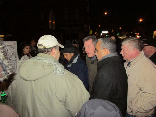 <p>State Sen. Jose Peralta and Councilman Daniel Dromm showed up at the memorial for Miguel Torres, who was struck and killed by a dump truck on Dec. 28.</p>