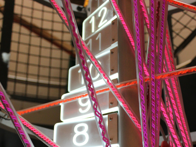 <p>One of the new exhibits inside the Museum of Mathematics combines numbers and light.</p>