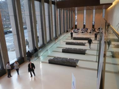 The second floor of Mount Sinai's new science and medicine center provides a view of the open lobby.