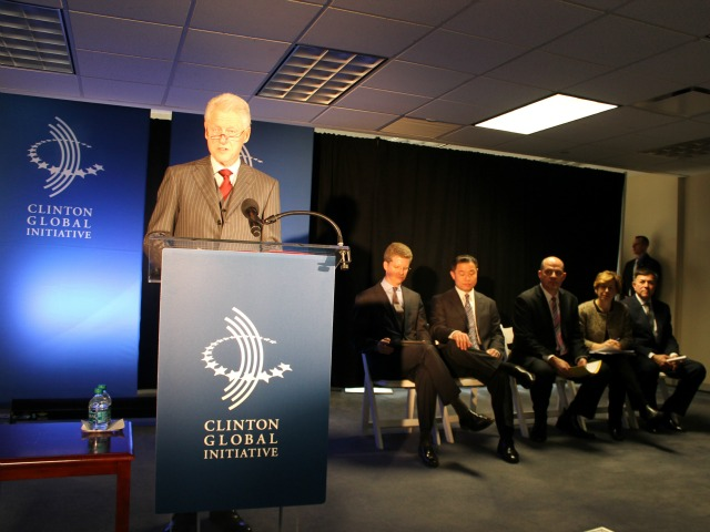 <p>Former President Bill Clinton said the money will be used to rebuild better after Superstorm Sandy.</p>