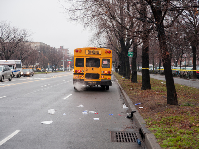 <p>The scene where a school bus struck a pedestrian on Kings Highway at Ocean Parkway on Tuesday December 18th, 2012.</p>