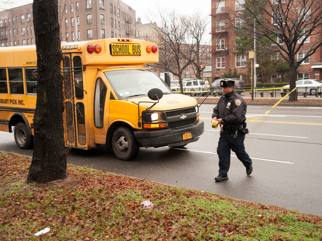 <p>A police investigation at Ocean Parkway and Kings Highway, where a man was struck by a school bus on Dec. 18, 2012.</p>