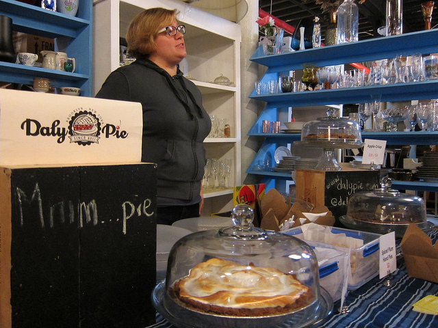 <p>A pie vendor at the Gowanus Nite Market, which is held the second Saturday of each month at Film Biz Recycling at 540 President Street.</p>