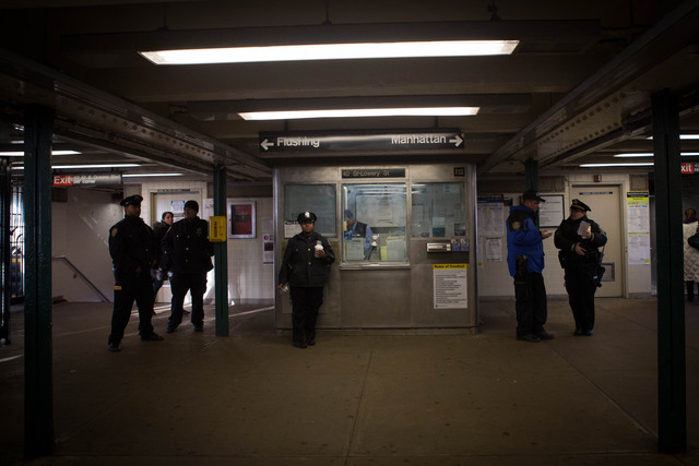 <p>A heavy police presence remained at 40th Street station in Sunnyside Friday morning, Dec. 28, 2012, hours after a woman pushed a man in front of an oncoming 7 train the night before.</p>