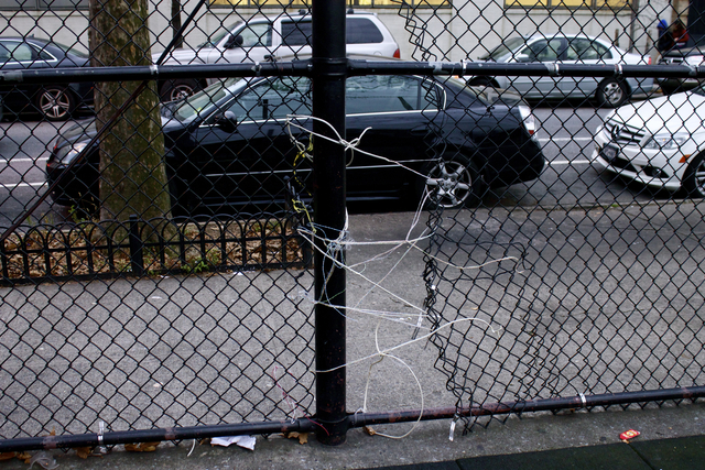 <p>On either side of the playground, there are gaping holes in the fence made by trespassers who cut through the wire. The school&rsquo;s custodian attempts makeshift repairs to the fence &mdash; using wires, plastic bands and wooden boards &mdash; but the holes continue to appear, according to the PTA.</p>