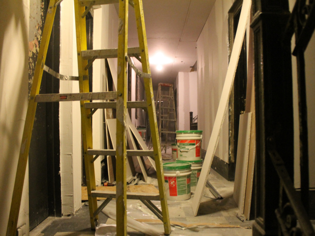 <p>Work crews began extensive repairs of the building once the DHS clients left.</p>