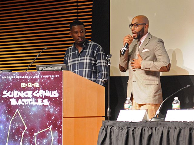 <p>Professor Chris Emdin raps next to GZA during the launch of Science Genius, a program to combine hip-hop and science education, at Columbia&#39;s Teachers College, Dec. 12, 2012.</p>