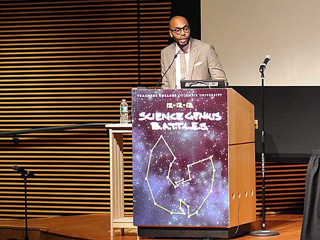 <p>Professor Chris Emdin speaks about Science Genius, a program to combine hip-hop and science education, at Columbia&#39;s Teachers College, Dec. 12, 2012.</p>