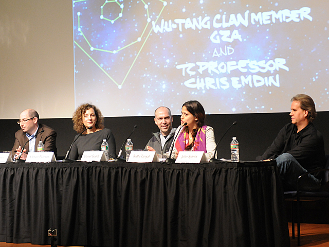 <p>A panel of scientists and science educators spoke during the launch of Science Genius, a program to combine hip-hop and science education, at Columbia&#39;s Teachers College, Dec. 12, 2012.</p>