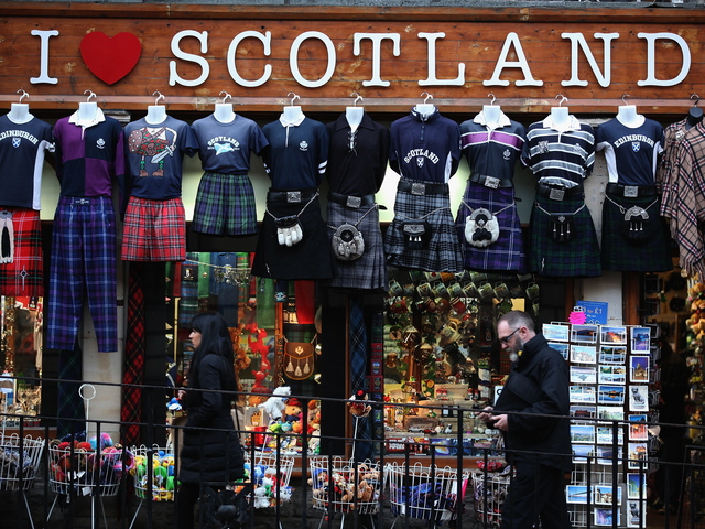 <p>A shop displays kilts and Scottish memorabilia near the Royal Mile in Edinburgh, Scotland. A Park Slope bar, The Duke of Montrose, is holding a contest to design a Scottish-themed mural for the bar.</p>