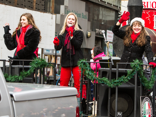 <p>(L-R) Gina Marie Blase, Miss Little Italy with singers Heather O&#39;Connor and Jenna Esposito at the East Meets West Parade in Chinatown &amp; Little Italy on Dec. 22nd, 2012.</p>