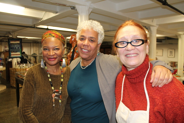 <p>SoHarlem founder and CEO Janet Rodriguez with two of the artisans, Donna Brew and Gladys Rosa Perez.</p>