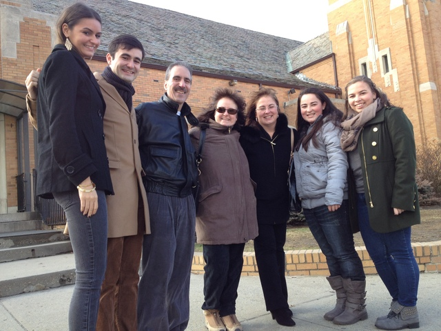 <p>St. Frances de Sales Parish congregants posed for a photo in front of the Belle Harbor church following Christmas mass Dec. 25, 2012. From left: Lauren Fiorentino, Dominick Fiorentino, Anthony Fiorentino, Maureen Fiorentino, Bridget Santiago, Juliana Santiago and Emily Santiago.</p>