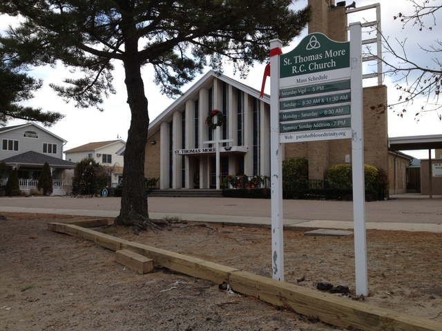 <p>St. Thomas More Roman Catholic Church in Breezy Point was damaged in Hurricane Sandy but held mass on Christmas Day 2012.</p>