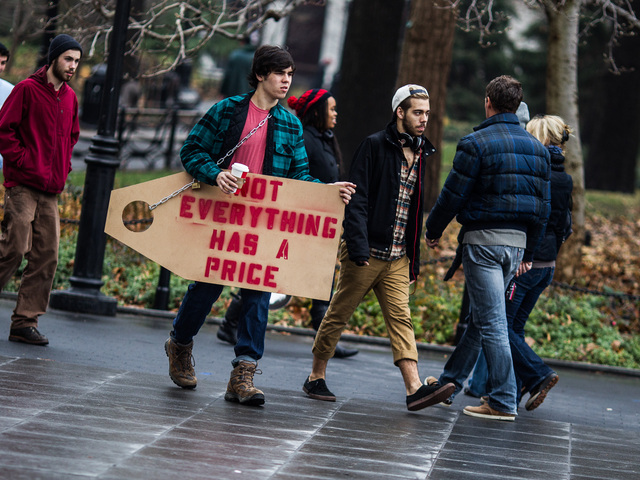 <p>Students march into Washington Square Park to attend the Cooper Union protest rally on Dec. 8, 2012.</p>