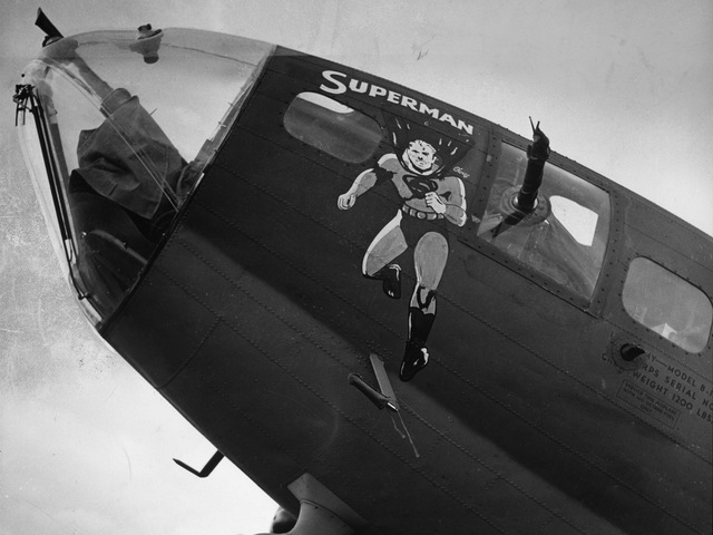 <p>Superman was a favorite of Allied troops during World War II, and they showed their gratitude by naming after him their jeeps, tanks, landing craft, and, pictured here, a B-17 Flying Fortress bomber.</p>