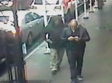 Police released footage of the alleged suspect, seen left, in the murder of Brandon Woodard.