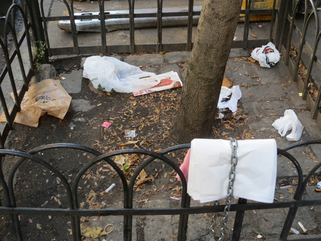 <p>Tree beds are also littered with refuse in the E. 86th Street Commercial District.</p>