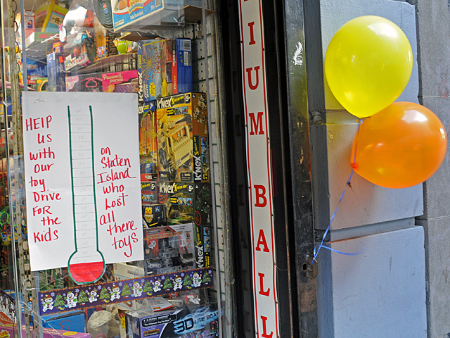 <p>Upper West Side toy store owner Donna Schofield holds a toy drive for Staten Island children impacted by Hurricane Sandy.</p>