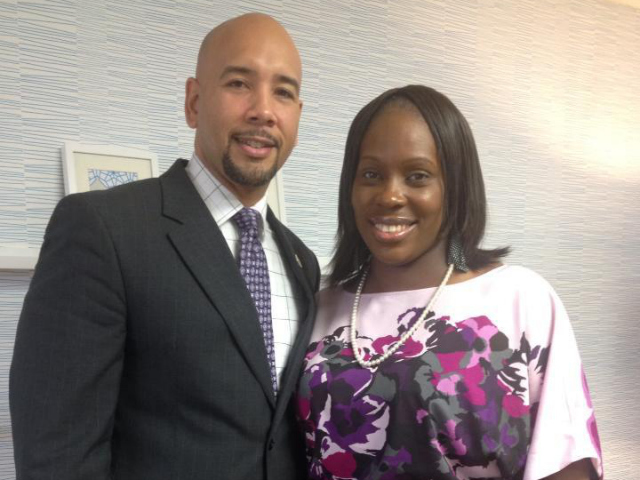 <p>Assemblywoman Vanessa Gibson with Bronx Borough President Ruben Diaz Jr.</p>