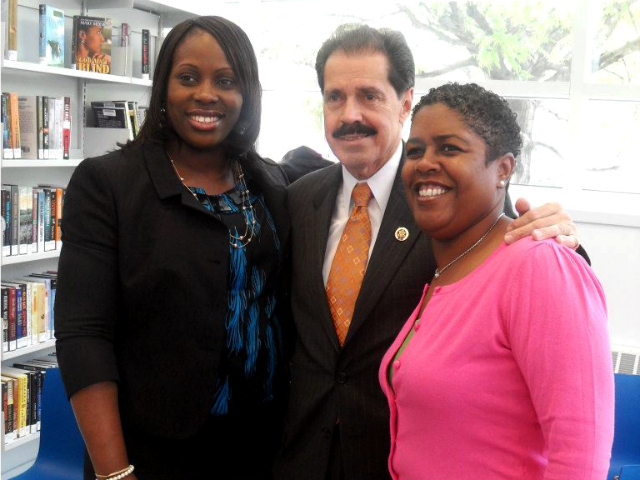 <p>State Assemblywoman Vanessa Gibson (l) is said to be considering a bid for the seat currently held by City Councilwoman Helen Diane Foster (r), who will be term-limited next year. U.S. Rep. Jos&eacute; E. Serrano poses with them.</p>