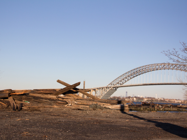 <p>Debris from a nearby old dock washed up into the lot of Villa Marin after Superstorm Sandy, Dec. 19, 2012.</p>