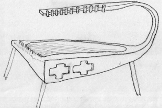 <p>An early drawing of Mihaeko and Cavatorta&#39;s proposed water harp.</p>