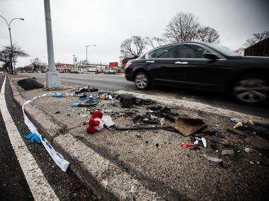 The wreckage from a traffic accident on Kings Highway in Brooklyn where two women were killed on Dec. 16th, 2012.