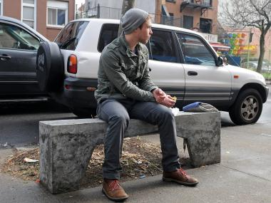 Eric Moran, 24, enjoyed his warm weather lunch break on South Portland Avenue in Fort Greene on Tuesday Jan. 29, 2013.