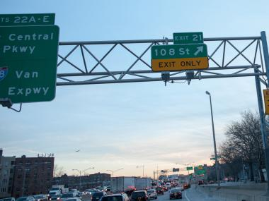 The 108th Street Exit sign as seen from the eastbound Long Island Expressway on Jan. 2, 2013. The front seat passenger of a 2003 Ford Explorer was killed when the SUV ran into a median along the Expressway just past the exit in Corona, Queens, early Wednesday.