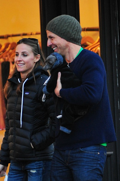 <p>Alexi Ashe and Seth Meyers walking with their dog Frisbee in the West Village Sunday on January 6, 2013.</p>