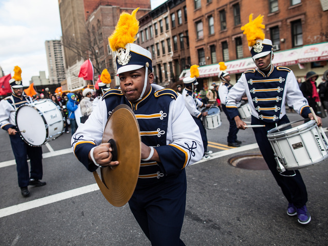 <p>A school band plays during the 36th Annual Three Kings Day Parade in East Harlem on Jan. 4, 2013.</p>