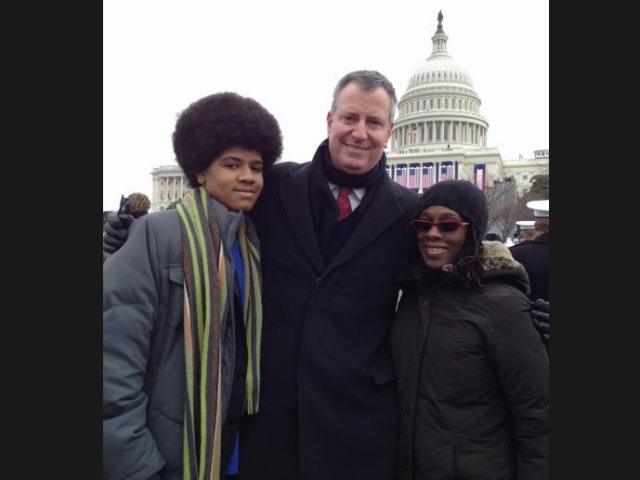 <p>Public Advocate Bill de Blasio and his family celebrate the president&#39;s second inauguration in Washington, D.C.</p>