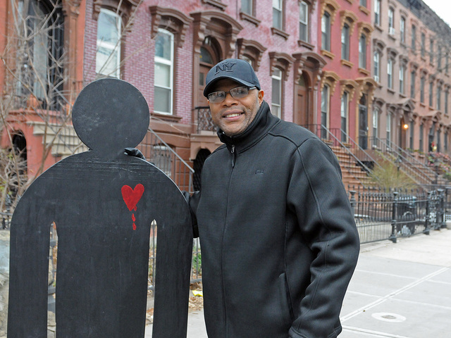 <p>Tony Herbert brought the &quot;bleeding heart silhouette&quot; to the site of the recent shooting. The idea of placing the silhouettes at locations where people are killed &quot;is a citywide initiative to raise the value of life through visualization,&quot; Herbert said.</p>