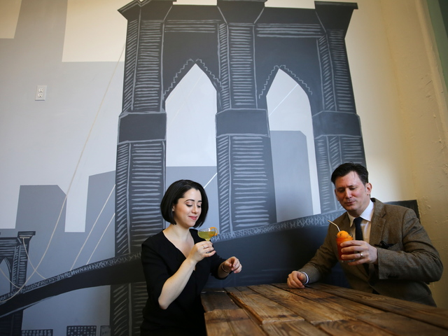 <p>A wall at The JAR Group offices boasts a mural of the Brooklyn Bridge. The real thing can be seen from the windows.</p>