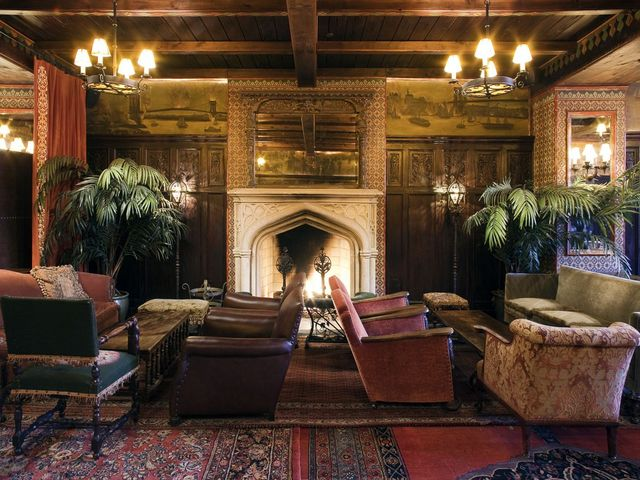 <p>The fireplace at the Bowery Hotel Lobby bar</p>