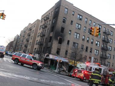 The fire tore through a West 188th Street apartment building in Washington Heights early Friday Jan. 25, 2013.