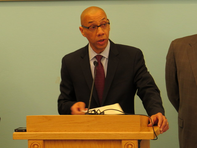 <p>Schools Chancellor Dennis Walcott speaks at Saturday&#39;s press conference regarding a potential school bus drivers strike</p>