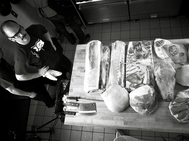 <p>Pittsburgh butcher and chef Justin Severino will give a pig butchery demonstration at the West 10th Street restaurant Louro Jan. 14, 2013. He said the session is for people who want to know &quot;the reality of food.&quot;</p>