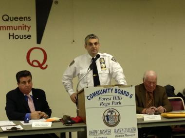 Capt. Thomas Conforti, who oversees the 112th Precinct, at a Community Board 6 meeting on Jan. 10, 2013