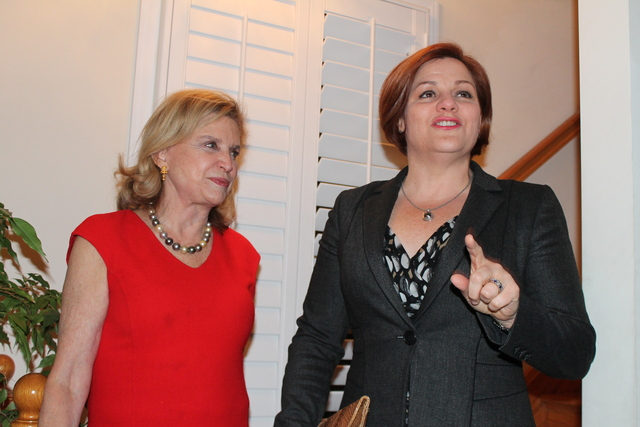 <p>City Council Speaker Christine Quinn mingled with fellow elected officials and business leaders at Rep. Carolyn Maloney home in Washington, D.C. on Jan. 20, 2013.</p>