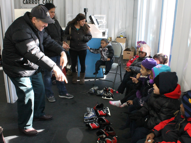 <p>Cary Goodman, head of the 161st Street BID, plays with students from the Highbridge Advisory Council&rsquo;s Head Start program, which is located across the street from Yankee Stadium.</p>