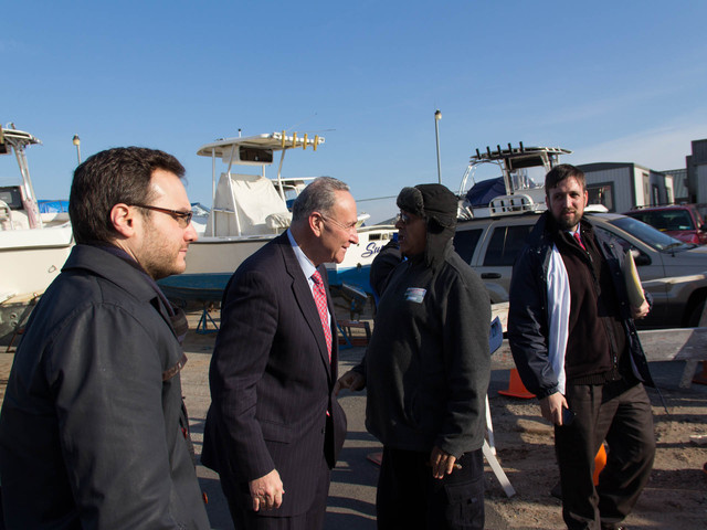 <p>Senator Charles Schumer has called on the National Parks Service to keep the Great Kills Marina, which suffered damaged because of Hurricane Sandy, open and renew its lease, Jan. 8, 2013.</p>